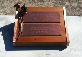 Copper and Totara grave marker. 2015.